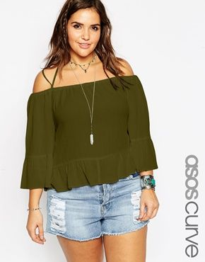 ASOS CURVE Cold Shoulder Top in Crinkle