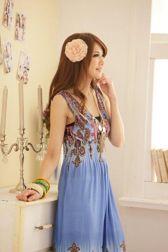 ice blue sundress | ... blue Double V Neck Beach Sundress Long Maxi Ice Silk Dress sundress