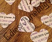 Personalised card confetti centre pieces table decoration, wedding, love hearts, personalised, bride and groom, newly weds, various colours