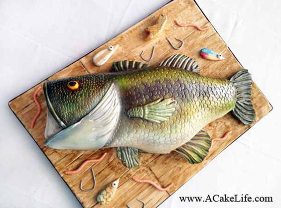 Realistic Bass Fish Groom's Cake, by A Cake Life