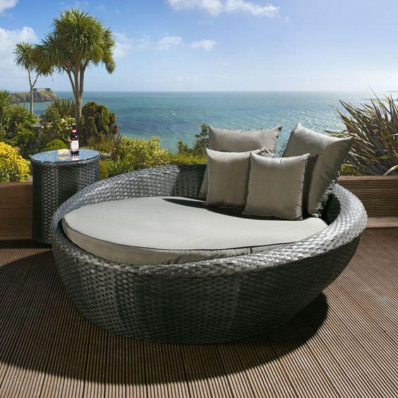 Luxury Round Garden Day Bed Sofa Black Rattan Grey