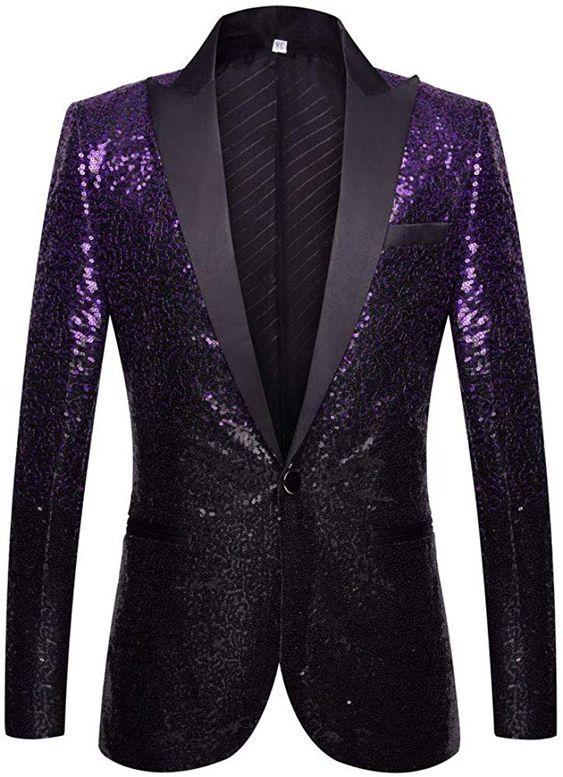 PYJTRL Men Fashion Gradual Change Color Sequins Suit Jacket