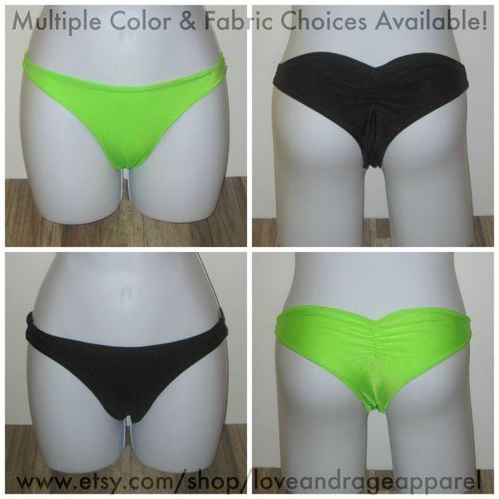 Dancer Scrunch Bikini Bottoms: Buyers choose from a variety of fabrics and colors. #rave #music #festival #club #ravewear #clubwear #dance #gogo #dancer #edm #plur #edc #umf #custom #bra #tutu www.etsy.com/shop/loveandrageapparel