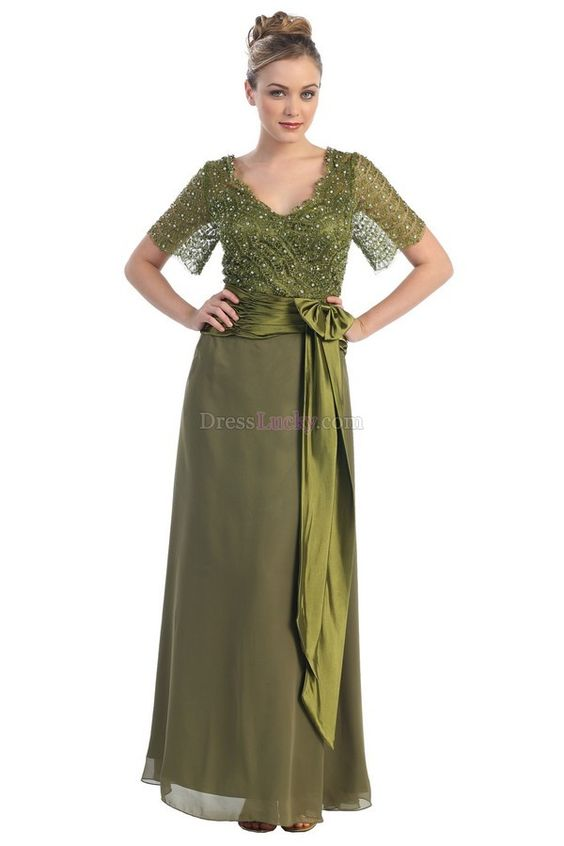Green Zipper Up Natural Short Sleeve Long/Floor-length Mother Of The Bride Dresses With Sashes/Ribbons MD1518