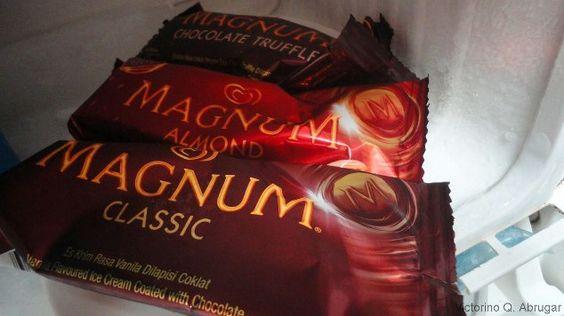 Three Flavors of Magnum Ice Cream Bars inside our Refrigerator.