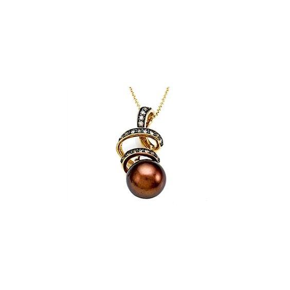 Finejewelers.com - Carlo Viani® South Sea Chocolate Pearl Pendant with Chocolate Diamonds Style: C102-0081 found on Polyvore