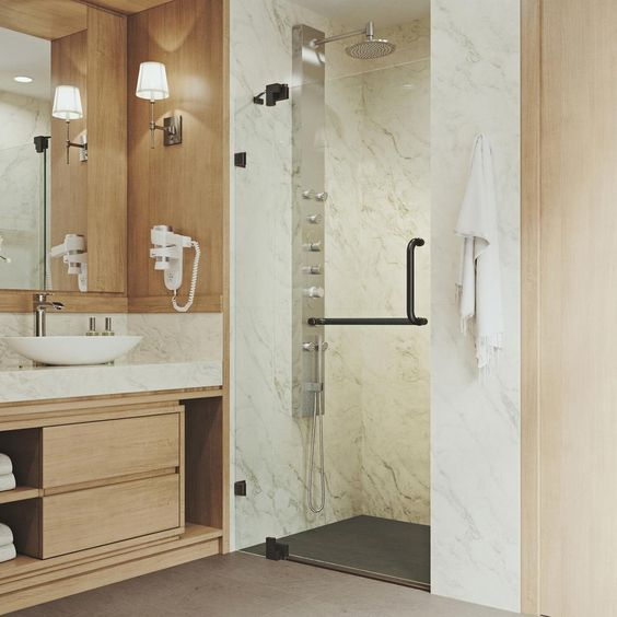 Vigo Pirouette 30 To 36 In X 72 In Frameless Pivot Shower Door In Antique Rubbed Bronze With Clear Glass And Handle Vg6042arbcl36 Shower Doors Frameless Shower Doors Frameless Shower