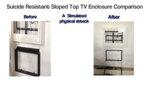 American made suicide resistant sloped tv enclosure