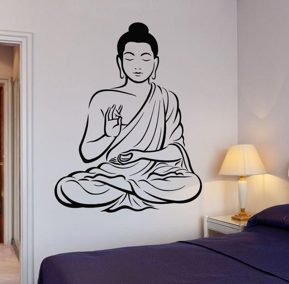 Árbol de buda flor de Yoga pared del vinilo budismo Om relajación meditación Zen Art etiqueta de la pared salón dormitorio decoración(China (Mainland))
