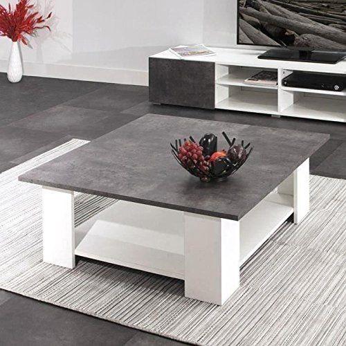 Lime Table Basse 89x89 Cm Blanc Et Decor Beton Table Basse Table Basse Carree Table Salon
