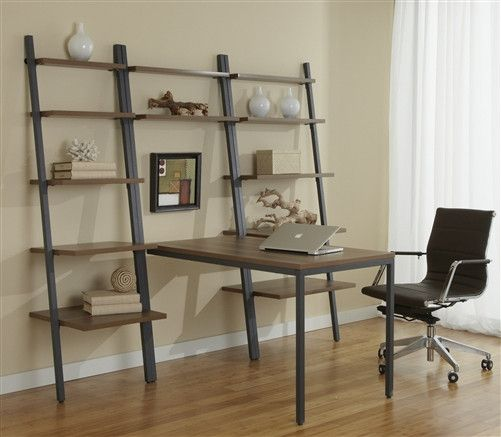 Modern Walnut Peninsula Desk with Integrated Bookcases