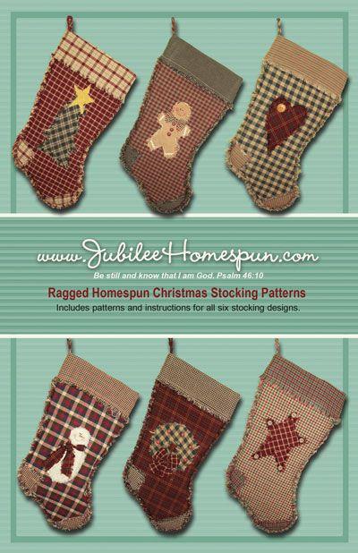 Rag Christmas STocking Made From Homespun Fabric Sewing Stuff Pinterest