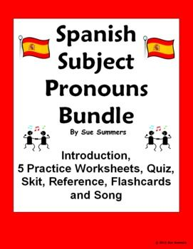 spanish subject pronouns bundle practice quiz skit and intro spanish summer and worksheets. Black Bedroom Furniture Sets. Home Design Ideas