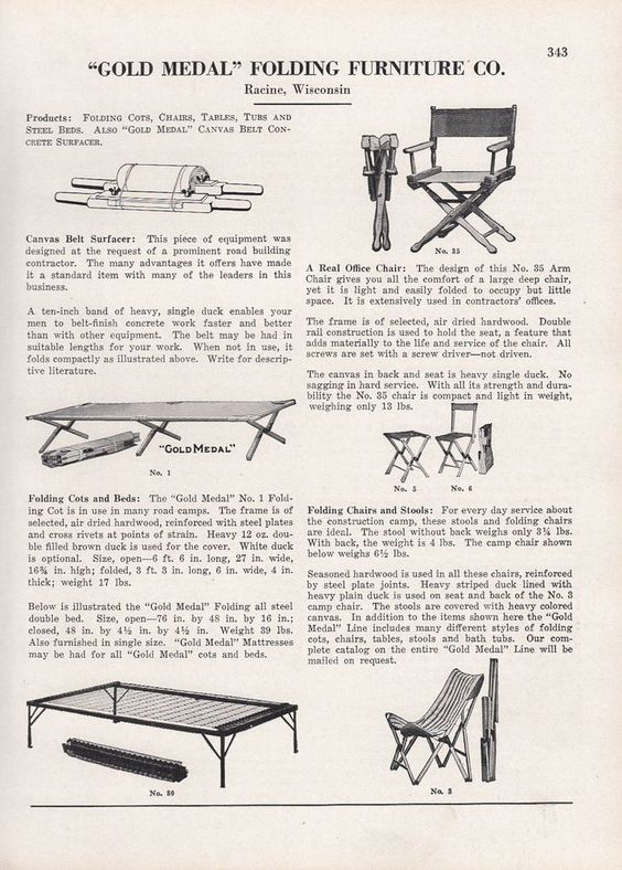 1929 Gold Medal Folding Furntiure Co Racine WI Ad: Folding Cots Chairs  Tables | Cots And Tables