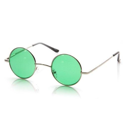Metal Round Circle Ozzy Elton John Green Tint Lennon Style Sunglasses