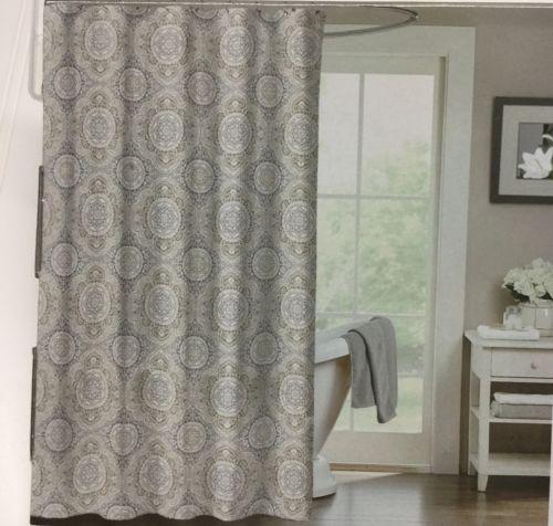 Hailey Collection Fabric Shower Curtain White Gray Tan Mandala