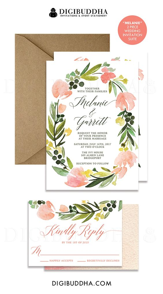 Whimsical watercolor flowers 2 piece wedding invitation & RSVP card suite in peaches and blush pinks with a beautiful calligraphy script. Boho chic invitations either printed on 3 thick, quality papers or available as printable wedding invitations. Only at digibuddha.com