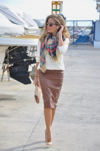 brown leather pencil skirt: