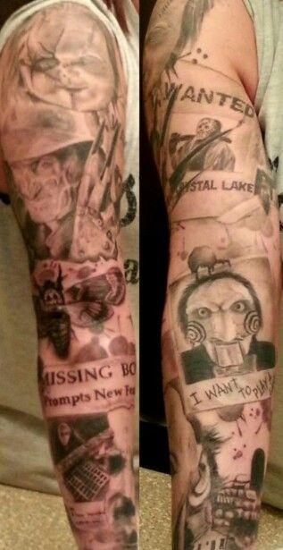 Horror movie sleeve tattoo.           Artist: Amanda Cancilla.
