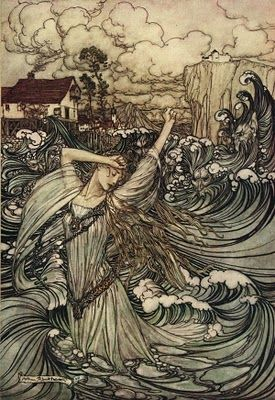 Elenei, the daughter of the sea god and wife of the first Storm King - illustration by Arthur Rackham