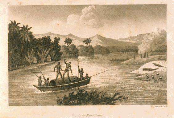 Navegación por el Magdalena. http://lal.tulane.edu     El río Magdalena la principal arteria fluvial del país, se convirtió en la principal ruta del comercio americano.  La revolución en el transporte expresada en ferrocarriles y barcos de vapor, se inicia en el país con el ferrocarril de Panamá, el primero en Colombia y cuya construcción se remonta a 1828, y con la navegación a vapor por el Magdalena, autorizada en 1823.