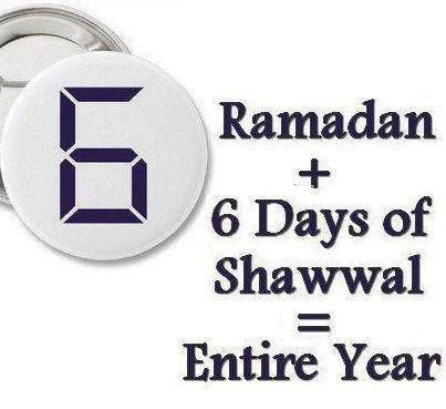 "The Messenger of Allah (pbuh) said, ""He who observes As-Saum (the fasts) in the month of Ramadan, and also observes As-Saum for six days in the month of Shawwal, it is as if he has observed As-Saum for the whole year."" [Sahih Muslim]"