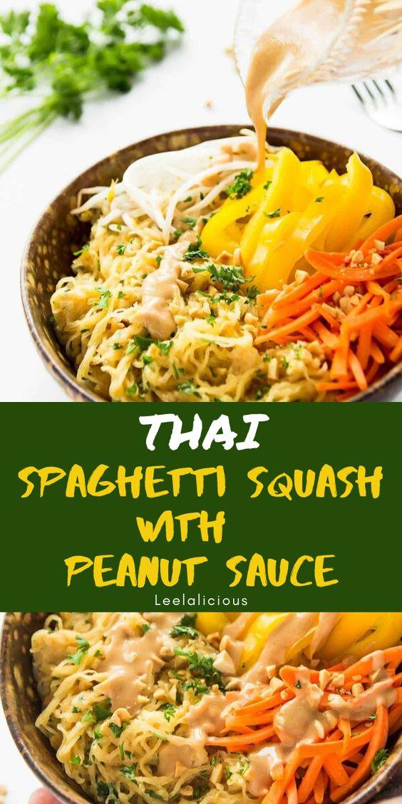 Easy Thai Peanut Sauce Spaghetti Squash