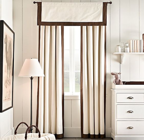 Bordered cotton canvas drapery panel drapery for Restoration hardware window shades