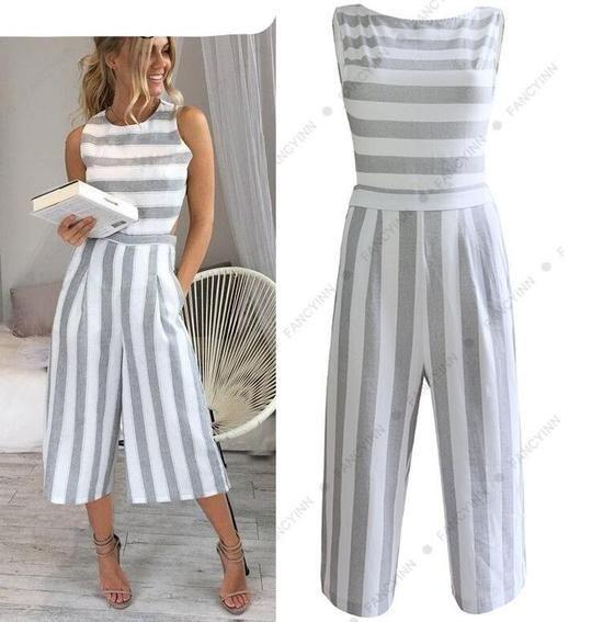 FANCYINN Womens Striped High Waist Wide Leg Jumpsuit Romper Evening Party Playsuit