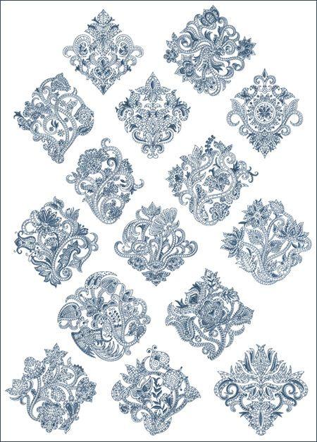 Paisley motifs machine embroidery designs