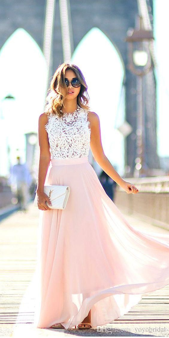 White lace pink chiffon bridesmaid dresses cheap long for How to dress for an evening wedding