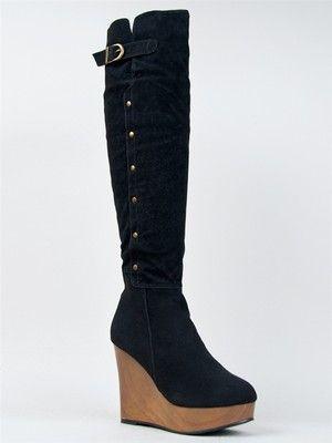 New Women Hot Over The Knee Thigh High Wedge Heel Studded Boot Sz ...