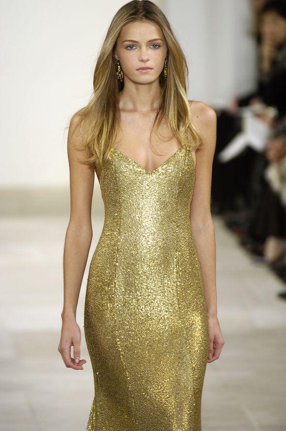 Ralph Lauren muted gold dress