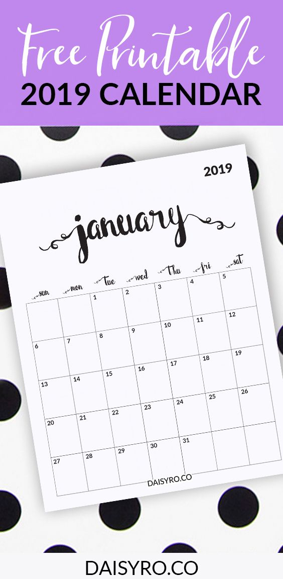 2019 Calendar Free Printable Free Printable Monthly Planner