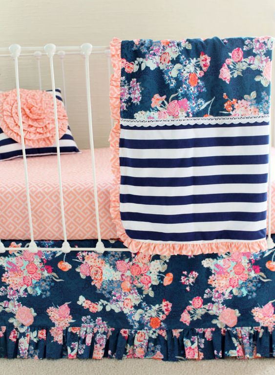 Coral and Navy Baby Girl Bedding Stripe and Floral by LottieDaBaby - color scheme idea