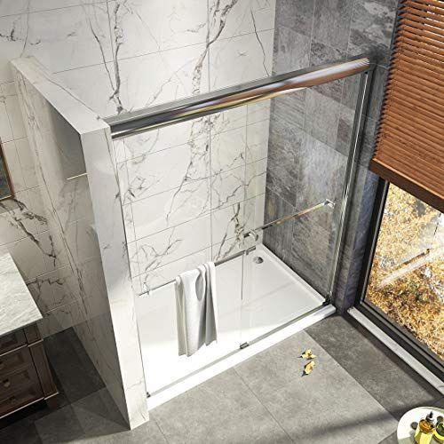Woodbridge Frameless Sliding Shower Door 56 60 Width 76 Height 3 8 10 Mm Clear Tempered Glass Brushed Nickel Mbsdc6076 B Frameless Sliding Shower Doors Sliding Shower Door Shower Doors