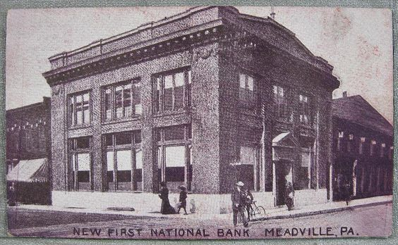 1900 S Meadville Pa Postcard New First National Bank Hometown Crawford County Landmarks