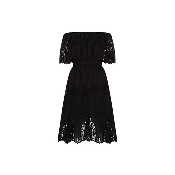 Monsoon Marilyn Dress (£105) ❤ liked on Polyvore featuring dresses, mid calf dresses, ruffle midi dress, monsoon dresses, midi dress and off the shoulder midi dress