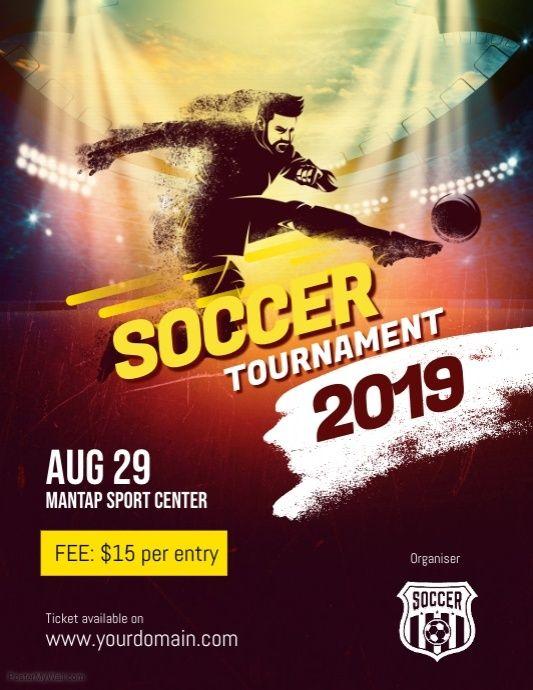 Soccer Futsal Football Tournament Flyer Poster Template Football Tournament Tournaments Bandar
