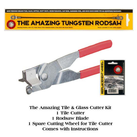 The Amazing Tile And Glass Cutter Kit  See it in action here: http://www.youtube.com/watch?v=9zlIygRnLSA=related