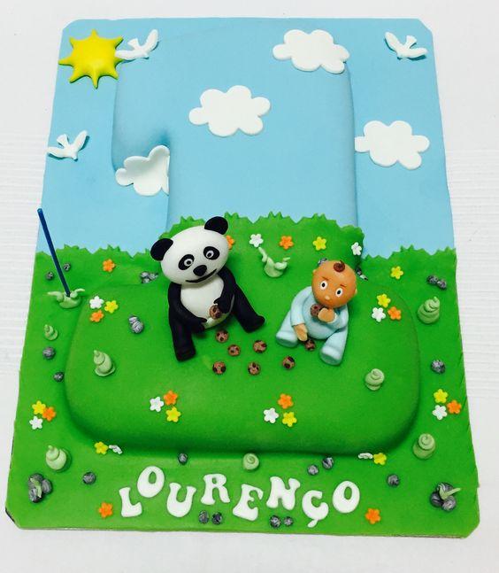 Bolo Cake Number Número 1 Panda