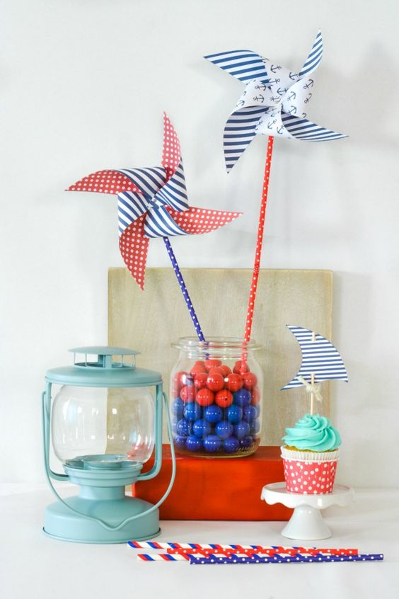 pinwheel centerpiece for a nautical themed baby shower nautical