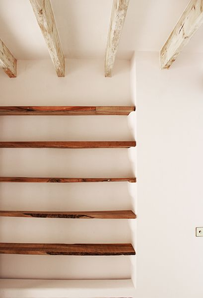 Reclaimed wood shelves, by Moredesign.es. COME SEE MORE Rustic Spanish Villa Interior Design Inspiration!