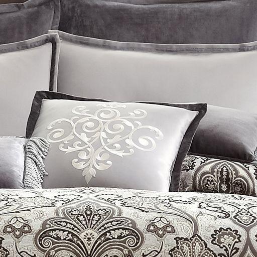 Royal velvet lourdes gray comforter set accessories for Grey velvet comforter