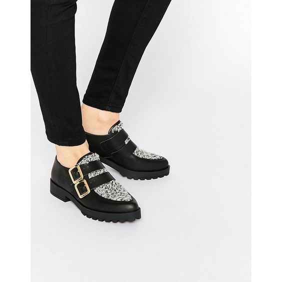 Miista Bhu Buckle Strap Flat Shoes (5,210 THB) ❤ liked on Polyvore featuring shoes, flats, black, miista shoes, pointy-toe flats, miista, black shoes and pointed toe shoes
