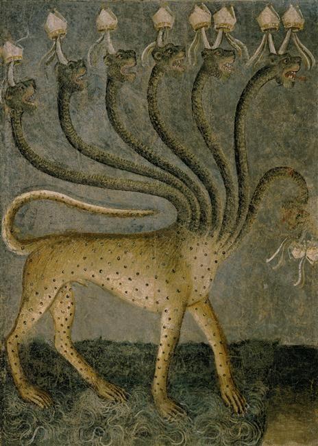 La bête de l'apocalypse. Giusto de' Menabuoi (1330-1390) : Cycle de l'Apocalypse (fresque):