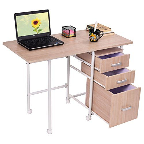 Folding Computer Laptop Desk Writing Table W 4 Wheels 3 Drawers
