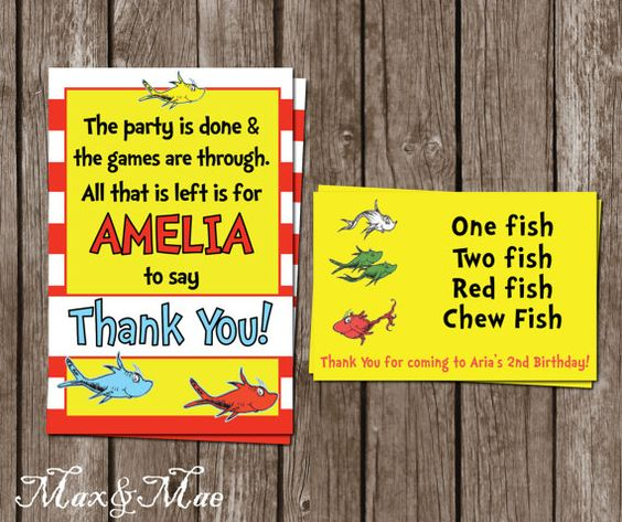 Dr. Seuss Birthday Thank You, One Fish, Two Fish Birthday Tag, Digital File, Printable