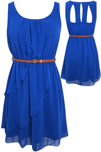 Something my sister rose would probably wear. And she'd look so cute in it if it were maybe a rosie red or pink: Blue Chiffon Dresses, Royal Blue Dresses, Summer Dresses, Cutout, Blue Color, Color Blue, Cobalt Blue, Bright Colors