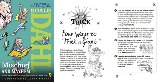 Four ways to trick a giant (or, at the very least, a really tall grown-up). #TheBFG #RoaldDahl